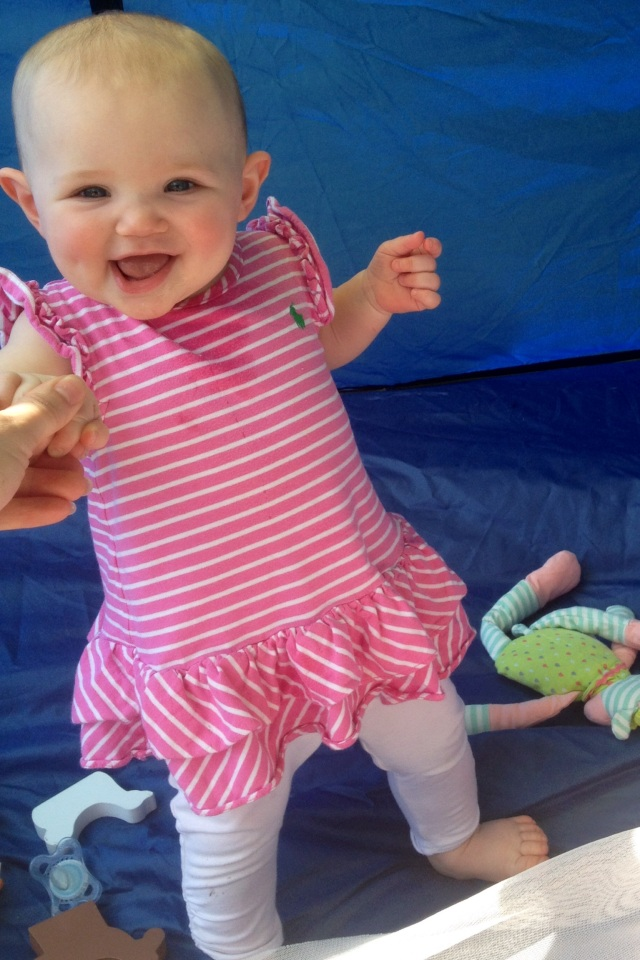 Piper loved playing in the sun tent, but mostly loved trying to stand up the whole time.