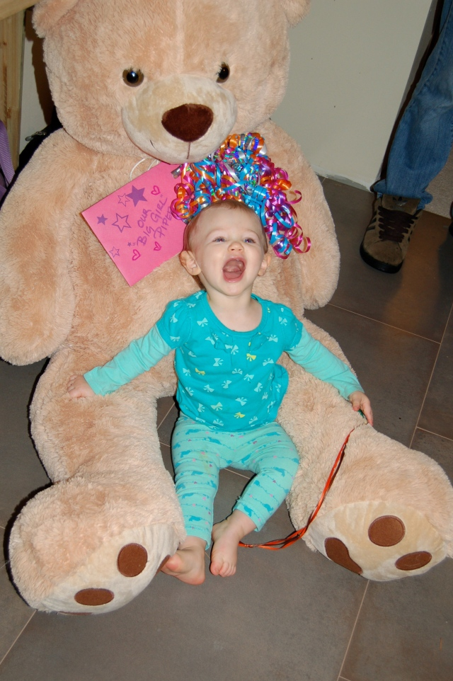 Piper and her giant Teddy Bear