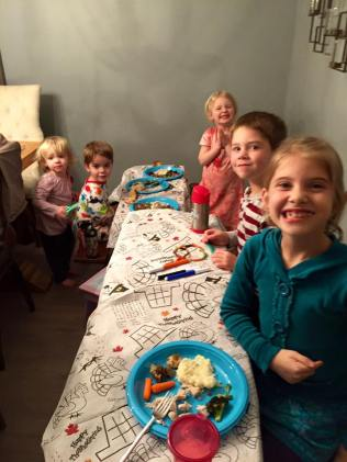 All the Cousins - loving that tablecloth!
